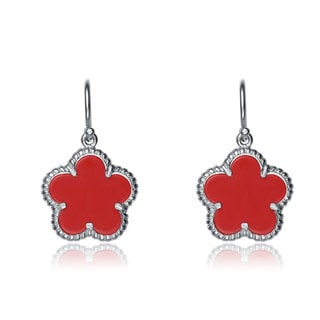 Collette Z Sterling Silver Rhodium Plated Coral Mother Pearl Flower Shape Drop Earrings