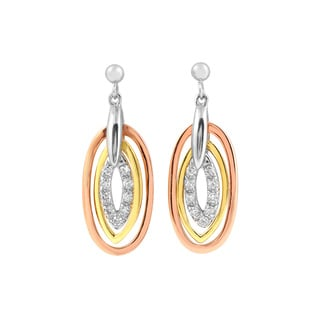 Collette Z C.Z. Sterling Silver Tri Color Oval Shape Drop Earrings