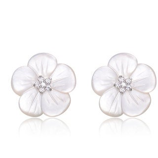 Collette Z C.Z. Sterling Silver Rhodium Plated Mother Of Pearl Flower Earrings