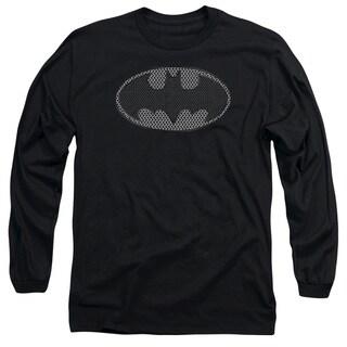 Batman/Chainmail Shield Long Sleeve Adult T-Shirt 18/1 in Black
