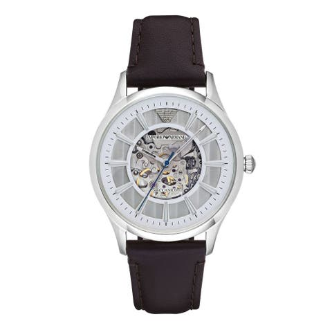 Emporio Armani Men's AR1946 'Dress' Automatic Brown Leather Watch