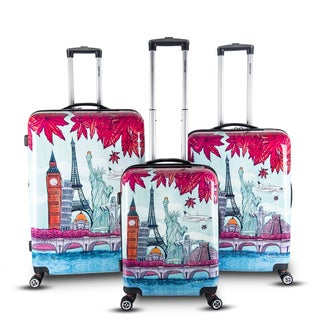 Topline Fashion Polycarbonate and ABS Expandable Hardside Spinner 3-piece Luggage Set