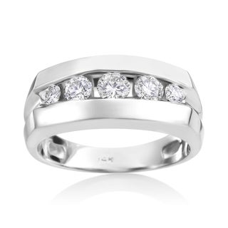 SummerRose Men's 14k White Gold 1ct TDW Diamond Ring