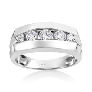 SummerRose Men's 14k White Gold 1ct TDW Diamond Ring