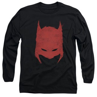 Batman/Hacked & Scratched Long Sleeve Adult T-Shirt 18/1 in Black