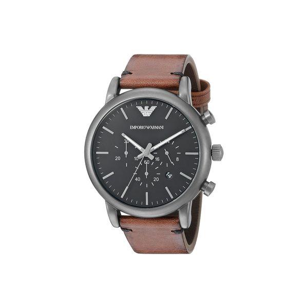 0e88dc7138 Emporio Armani Men's AR1919 'Dress' Chronograph Brown Leather Watch