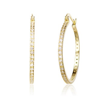 Collette Z C.Z. Sterling Silver Gold Plated Round Hoop Earrings