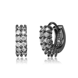 Collette Z C.Z. Sterling Silver Black PlatedClear Cubic Zirconia Two-row Cuff Earrings