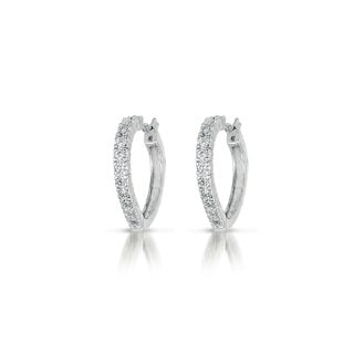 Collette Z C.Z. Sterling Silver Rhodium Plated Heart Shape Hoop Earrings
