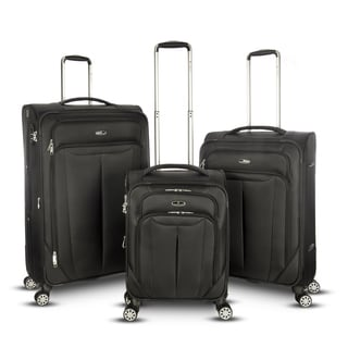 Gabbiano Toscana Ballistic Black Nylon 3-piece Expandable Softside Spinner Luggage Set