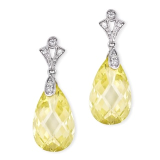 Collette Z C.Z. Sterling Silver Rhodium Plated Lemon Teardrop Earrings