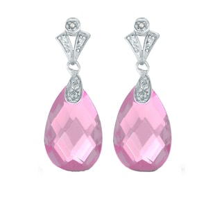 Collette Z C.Z. Sterling Silver Rhodium Plated Pink Teardrop Earrings