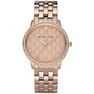 Michael Kors Women's 'Darci' MK Logo Crystal Rose-Tone Stainless Steel Watch