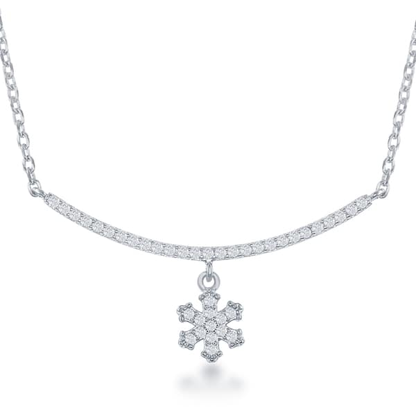 SilverLuxe Sterling Silver Mini Heart Bar Necklace with Cubic Zirconia
