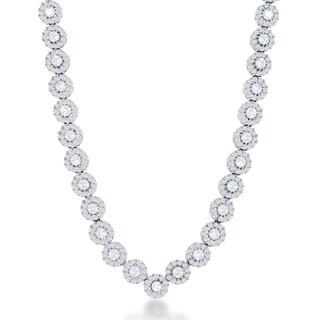 La Preciosa Sterling Silver CZ Circle Tennis Style Necklace