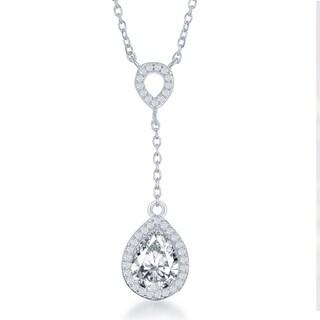 La Preciosa Sterling Silver Cubic Zirconia Double Teardrop Dangle Necklace
