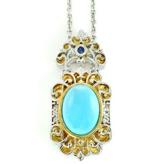 One-of-a-kind Michael Valitutti Cabochon Princess Turquoise with White and Blue Sapphire Pendant
