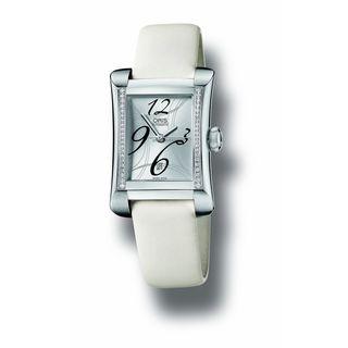 Oris Women's 56176214961LS 'Miles' Diamond Automatic White Leather Watch
