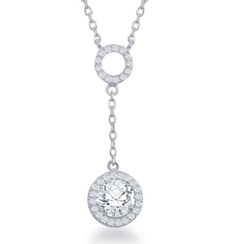 La Preciosa Sterling Silver Cubic Zirconia Double-circle Dangle Necklace