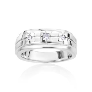 SummerRose Men's 14k White Gold 1/5ct TDW Diamond Ring