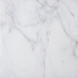 White Marble 18-inch x 18-inch x 3/8-inch Square Polished and Beveled Italian Massa Tiles