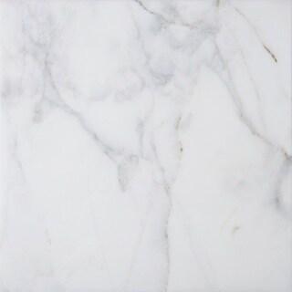 White Marble 18 x 18 x 3/8-inch Square Polished and Beveled Italian Massa Tiles