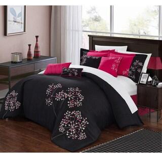 Chic Home Floral Black/Fuchsia Comforter 8-Piece Set