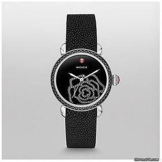 Michele Women's MWW03T000030 'CSX Jardin' Diamond Rose Back Leather Watch