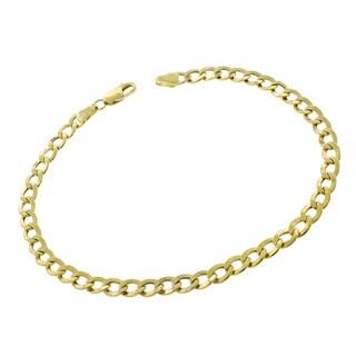 10k Yellow Gold 4.5mm Hollow Cuban Curb Link Bracelet Chain
