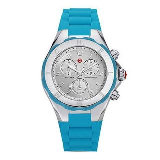 Michele Women's MWW12F000049 'Tahitian Jelly Bean' Chronograph Blue Silicone Watch