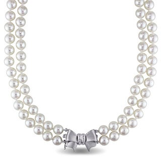 Miadora Signature Collection 14k White Gold Akoya Pearl and Diamond Accent Double Strand Bow Necklace (7.5-8mm)