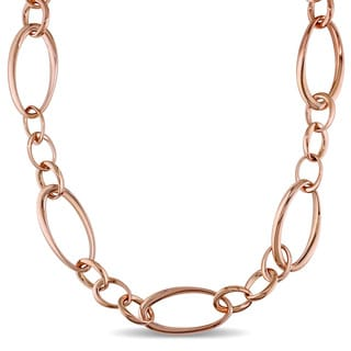 Miadora Signature Collection 18k Rose Gold Geometric Oval Link Necklace