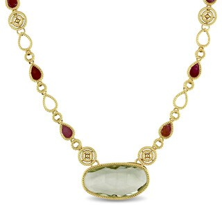 Miadora Signature Collection 14k Yellow Gold Oval-cut Green Amethyst and Multi-Color Sapphire Bar Necklace