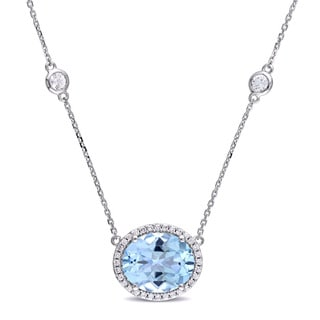 Miadora Signature Collection 14k White Gold Blue Topaz White Sapphire and 1/6ct TDW Diamond Station Halo Necklace (G-H, SI1-SI2)