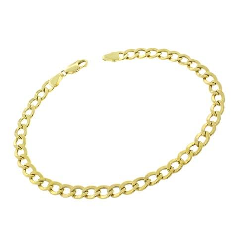 "10k Yellow Gold 5mm Hollow Cuban Curb Link Bracelet Chain 8"", 8.5"", 9"""