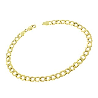 "10k Yellow Gold 5mm Hollow Cuban Curb Link Bracelet Chain 8"", 8.5"", 9"""