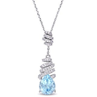 Miadora Signature Collection 14k White Gold Blue Topaz and 1/5ct TDW Diamond Swirl Drop Necklace (G-H, SI1-SI2)