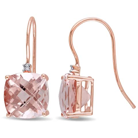 Miadora Signature Collection 14k Rose Gold Cushion-Shaped Morganite and Diamond Accent Hook Earrings (G-H, I1-I2)
