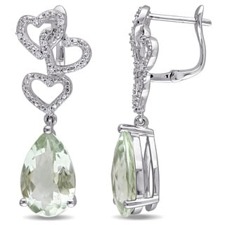 Miadora Signature Collection 14k White Gold Green Amethyst and 1/10ct TDW Diamond Linked Heart Drop Earrings (G-H, SI1-SI2)