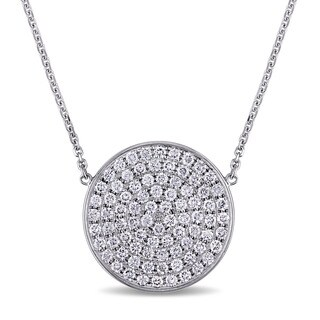Miadora Signature Collection 14k White Gold and 1 1/4ct TDW Diamond Round Cluster Necklace (G-H, SI1-SI2)