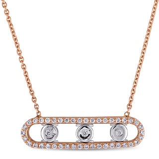 Miadora Signature Collection 18k 2-Tone Rose and White Gold 1/5ct TDW Diamond Station Bar Necklace (G-H,SI1-SI2)
