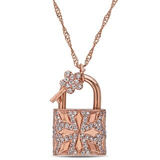 Miadora Signature Collection 14k Rose Gold 1/3ct TDW Diamond Lock and Key Necklace (G-H, SI1-SI2)