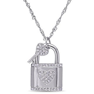 Miadora Signature Collection 14k White Gold 1/3ct TDW Diamond Lock and Key Heart Necklace (G-H, SI1-SI2)