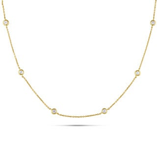 Miadora Signature Collection 14k Yellow Gold 1/2ct TDW Diamond Station Necklace