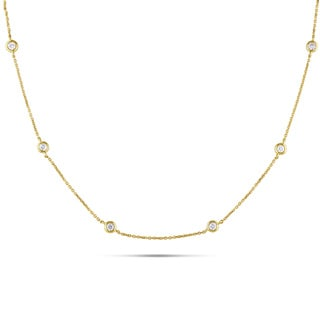 Miadora Signature Collection 14k Yellow Gold 1/2ct TDW Diamond Station Necklace (G-H, SI1-SI2)