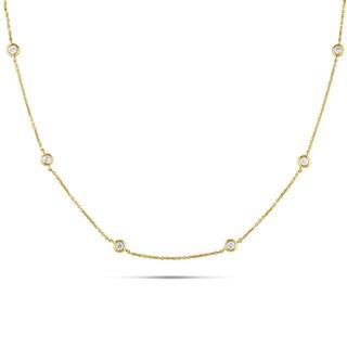 Miadora Signature Collection 14k Yellow Gold 1/2ct TDW Diamond Station Necklace