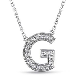 Miadora 14k White Gold 1/10ct TDW Diamond G Initial Necklace