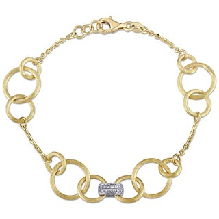 Miadora Signature Collection 18k Yellow Gold 1/5ct TDW Diamond Stationed Link Bracelet (G-H, SI1-SI2)
