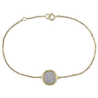Miadora 14k Yellow Gold 1/4ct TDW Diamond Round Cluster Bracelet