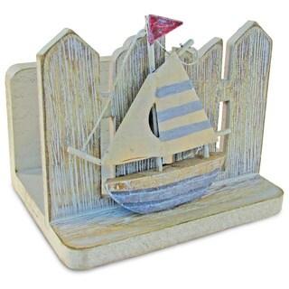 Puzzled Grey and Blue Plastic Nautical Vintage Napkin Holder